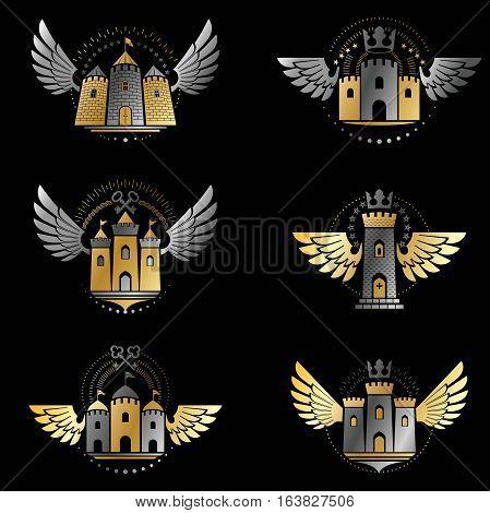 Ancient Citadels emblems set. Heraldic vector design elements collection. Retro style label heraldry logo.