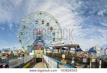 Wonder Wheel Is A Hundred And Fifty Foot Eccentric Wheel At Luna Park