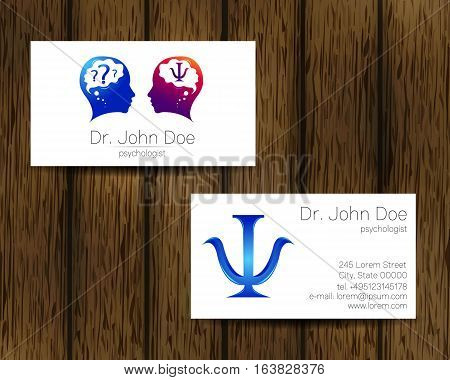 Psychology vector visit card. Modern logo. Creative style. Design concept. Brand company. Blue violet color isolated on tree background. Symbol for web, print. vVsiting personal set illustration