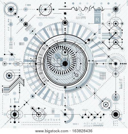 Technical drawing with dashed lines and geometric shapes vector futuristic technology engineering draft.