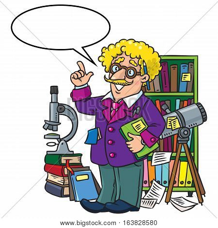 Childrens vector illustration of funny scientist or inventor. A man in glasses and suit with books, folders, microscope and telescope raised index finger. Profession ABC series. With balloon for text