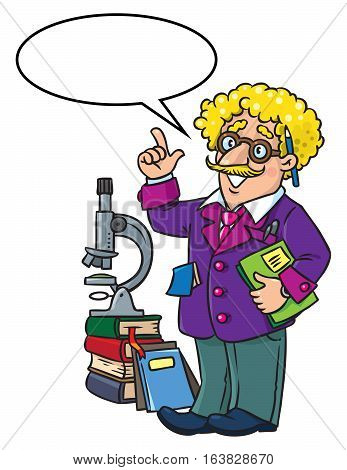 Childrens vector illustration of funny scientist or inventor. A man in glasses and suit with books, folders and microscope raised index finger. Profesion ABC series. With balloon for text