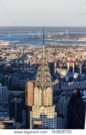 Aerial View Of The Chrysler Building In New York