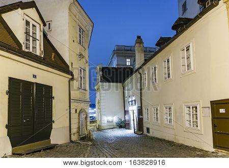 Vienna - Famous Moelkersteig Street At Night