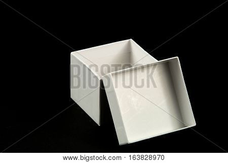 pictures of a square and white cardboard box