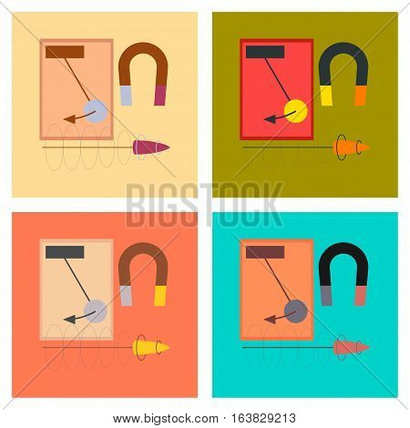 assembly flat icons school Physics lesson magnet