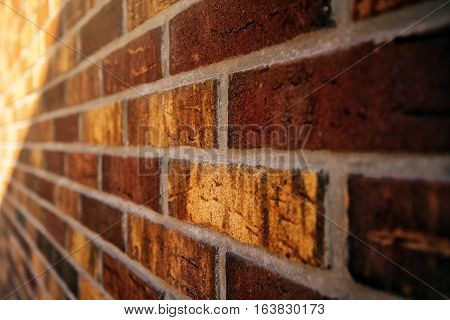 Beautiful rustic brickwork in perspective brick wall detail with shallow depth of field