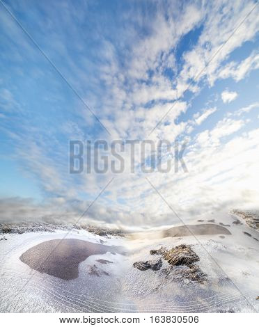 Winter landscape with dried grass ice and snow