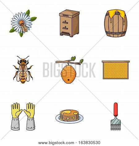 Apiary set icons in cartoon style. Big collection of apiary vector symbol stock