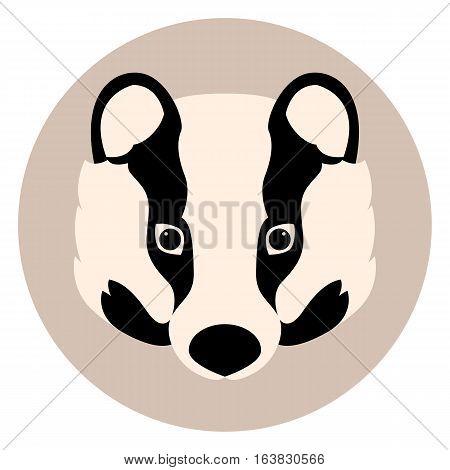 badger face  vector illustration style Flat side front
