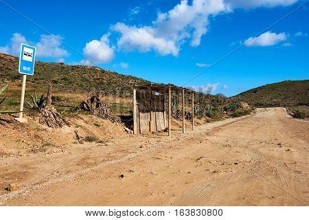 Bus stop station near San Jose village. Province of Almeria. Southern Spain