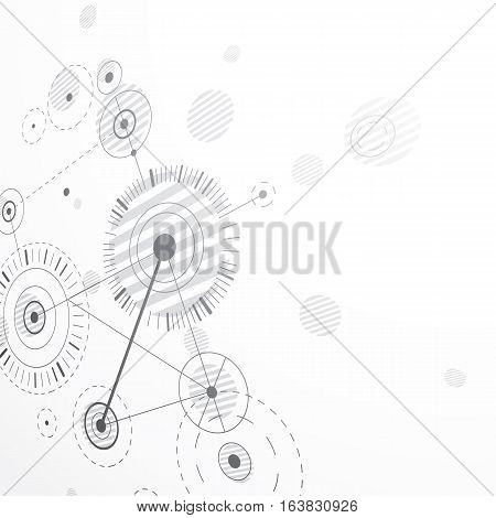 Bauhaus art dimensional composition perspective grayscale modular vector retro style pattern graphic backdrop for use as booklet cover template.