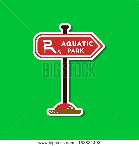 paper sticker on stylish background of sign aquatic park