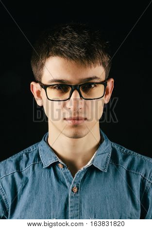 Close Up Smiling Young Businessman Wearing Eyeglasses, Looking At The Camera