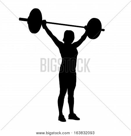 Woman standing and holding barbell over her head. Bodybuilding weight-lifting. Vector silhouette