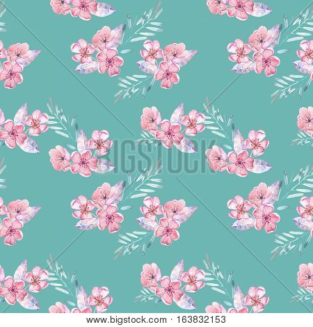 Seamless pattern with watercolor floral bouquets from tender pink flowers and leaves, hand drawn on a green background