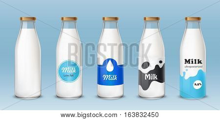 Set of vector icons glass bottles with a milk