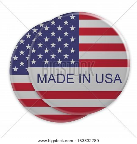Made In USA: US Flag Buttons 3d illustration on white background