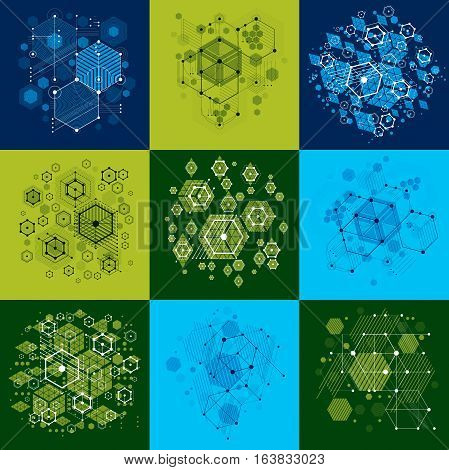 Set of vector Bauhaus abstract backgrounds made with grid and overlapping simple geometric elements circles and honeycombs. Retro style artworks graphic templates for advertising poster.