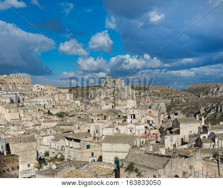 Matera-Italy-December 29 2016:View of Sassi. Matera is the Italian city designated European Capital of Culture in 2019 and World Heritage Site