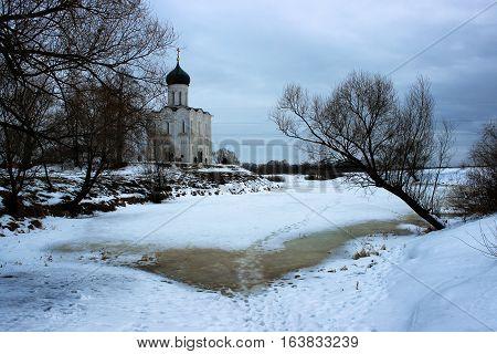 Church of the Intercession on the Nerl in winter season, Bogolyubovo, Russia.