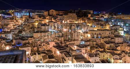 nightview of Sassi. Matera is the Italian city designated European Capital of Culture in 2019 and World Heritage Site
