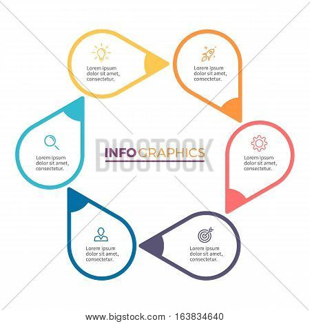 Circular chart, diagram with 6 steps, pointers. Vector design element.
