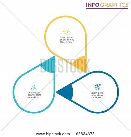 Circular chart, diagram with 3 steps, pointers. Vector design element.