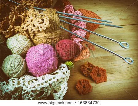 colorful balls of colored wool for knitting in the basket retro style