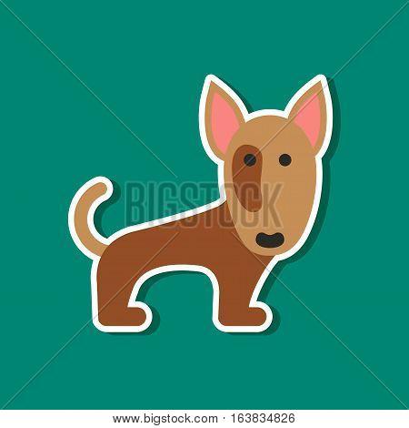 paper sticker on stylish background of pet dog pitbull
