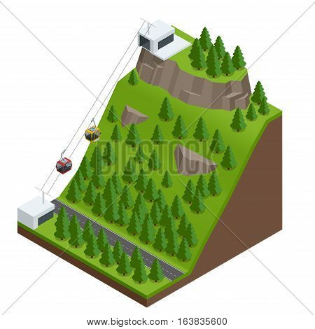 Vector Isometric infographic element or icon representing travel on cableway from the lower station to the viewing platform on mountain. Cableway in the mountains.