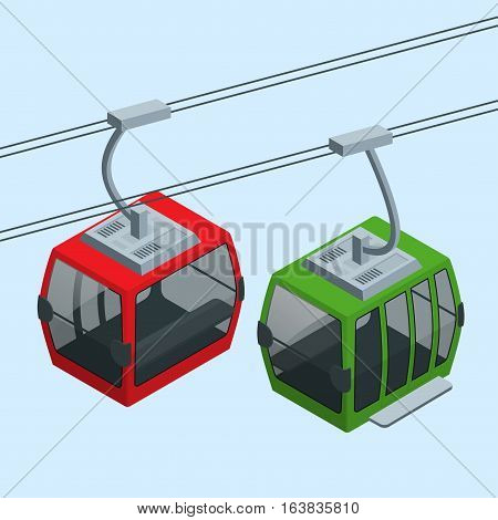 Cableway in the mountains. Vector Isometric infographic element or icon representing travel on cableway from the lower station to the viewing platform on mountain.