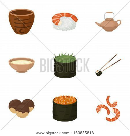 Sushi set icons in cartoon style. Big collection of sushi vector symbol stock