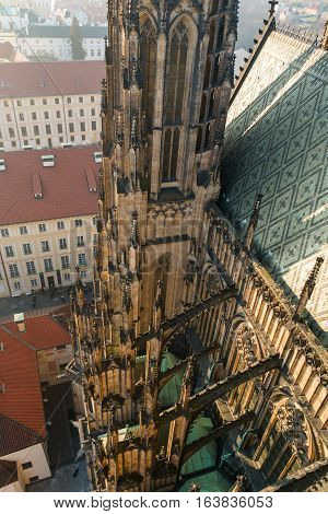 Roof line of the gothic St Vitus Cathedral in the Prague Castle Complex Czech Republic