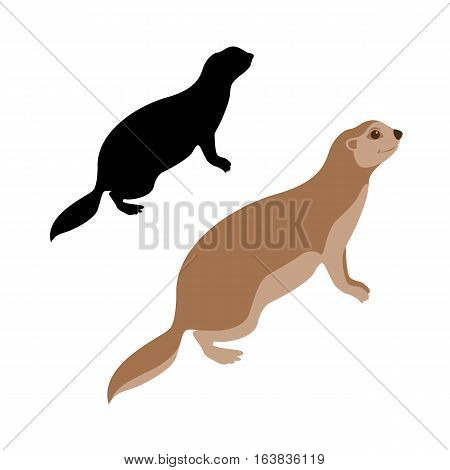 Gopher vector illustration style Flat set silhouette