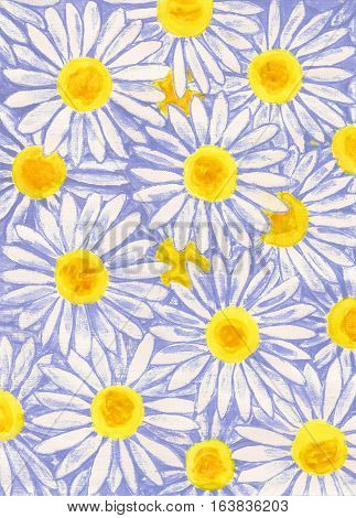 White camomiles ox-eye daisy hand painted picture gouache.