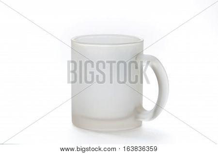 empty semitransparent mug on white background, isolated