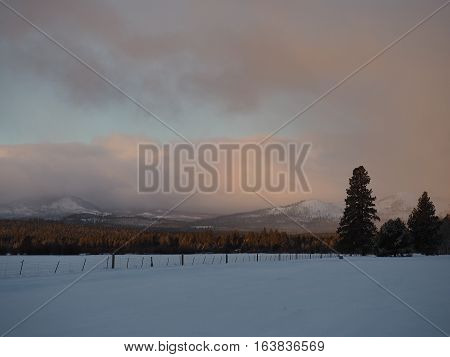 Morning sunrise in Central Oregon glows on the clouds and foothills of the Cascade Mountains with tall trees a fence and a snow covered field on a winter day.