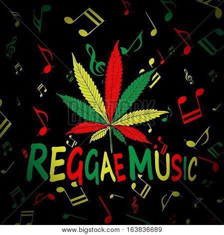 Illustration Cannabis alone Musical note as background reggae music.