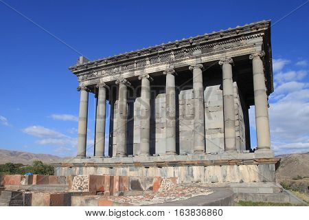 Ancient Garni Pagan Temple the hellenistic temple in Republic of Armenia. The Garni Temple is the fine example of the ancient Greek and Roman architecture