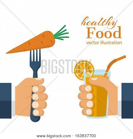 Healthy food concept. Glass of orange juice in hand and a carrot on a fork, as a symbol of a healthy diet. Veggie food, eat vitamins. Vector illustration flat design. Isolated on white background.