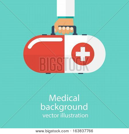 Modern first aid kit in form of capsules in hands doctor, isolated. Medical background. Vector illustration in flat design. Healthcare concept. Medical help. Emergency doctor.