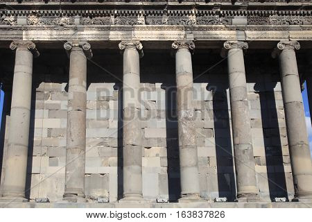 Detail of Ancient Roman Columns in Hellenistic temple of Garni, Armenia