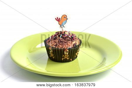 Colour muffin for kids party with hen picture at the top