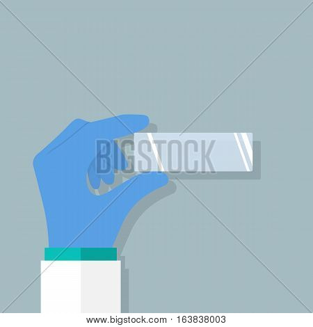 Empty microscopy slide in hand doctor laboratory. Researcher in gloves conduct medical expertize. Vector illustration flat design. Isolated on background. Web template for diagnostic study research.