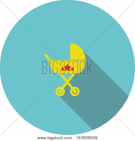 vector children icon Yellow baby carriage circle