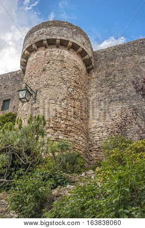 Portugal Obidos - urban village and the castle of the same name with the fortress. Walls and towers of the fortress.