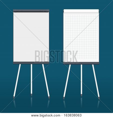 Blank flip chart. Whiteboard and empty paper, presentation and seminar, vector illustration.