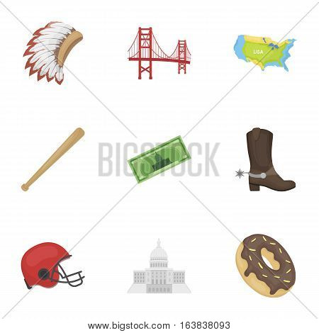 USA country set icons in cartoon style. Big collection of USA country vector symbol stock
