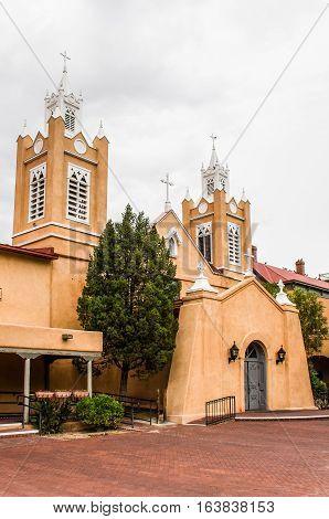 Albuquerque, USA - July 28, 2015: San Felipe de Neri Parish Church in the old town of Albuquerque